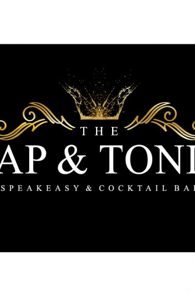 Tap and Tonic black and gold Speakeasy and Cocktail bar logo design