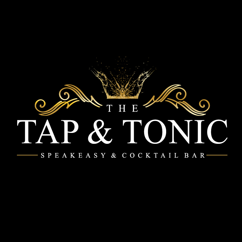Tap and Tonic speakeasy and cocktail bar logo design black and Gold