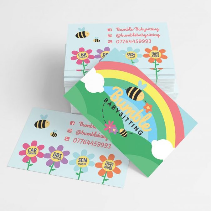 Business Card design and print for Bumble Babysitting