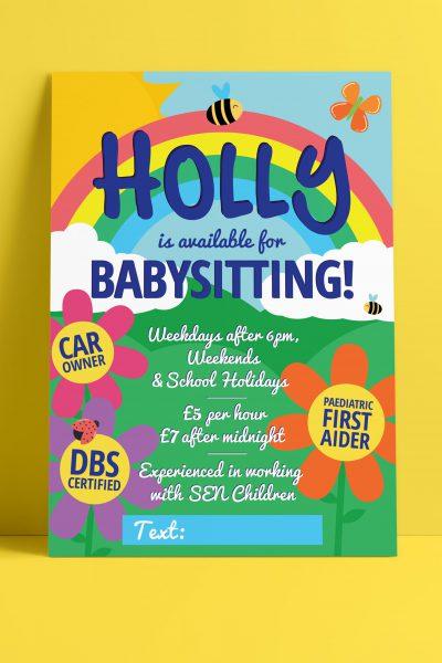 Leaflet design for Grantham business Bumble Babysitting