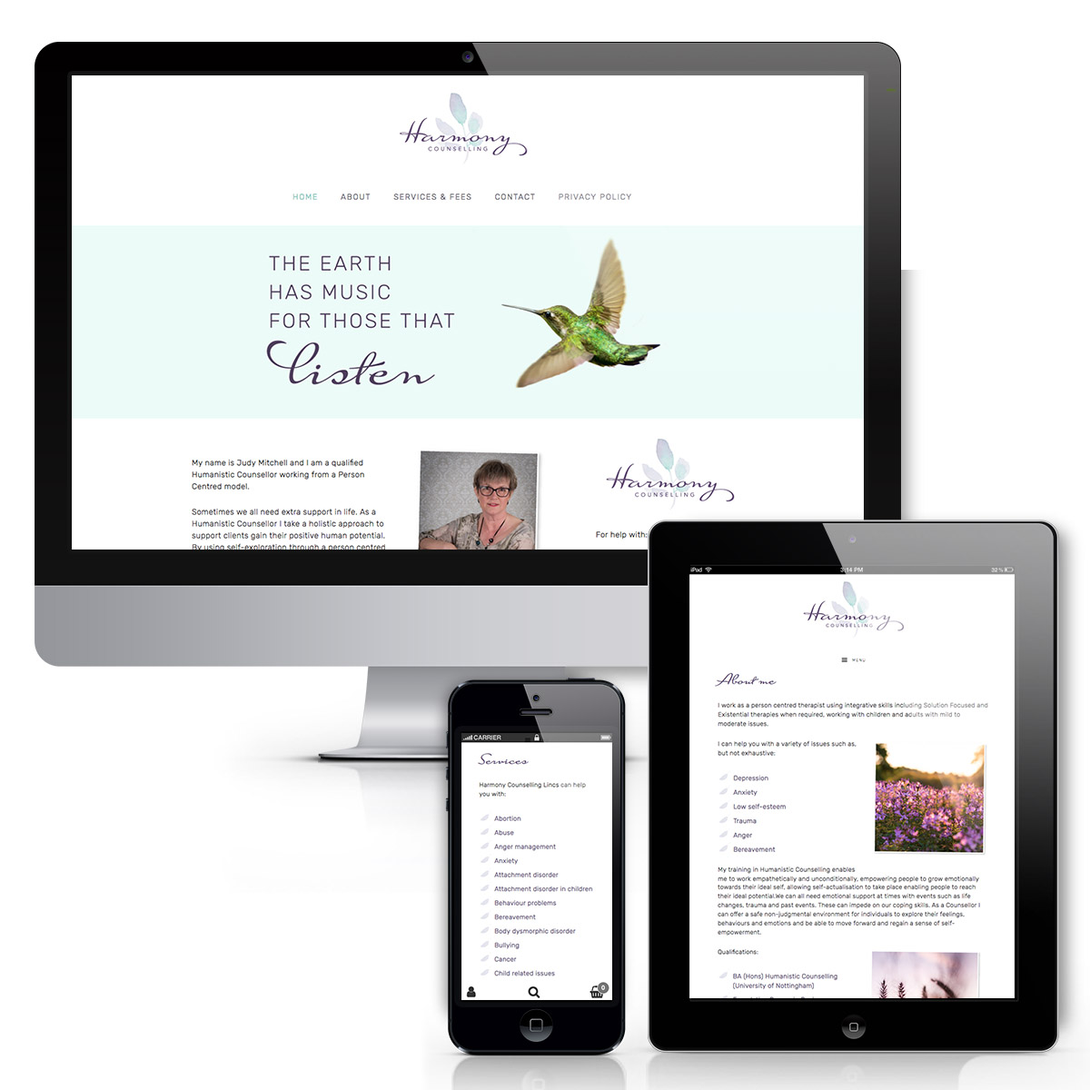 Harmony Counselling Lincs Website design