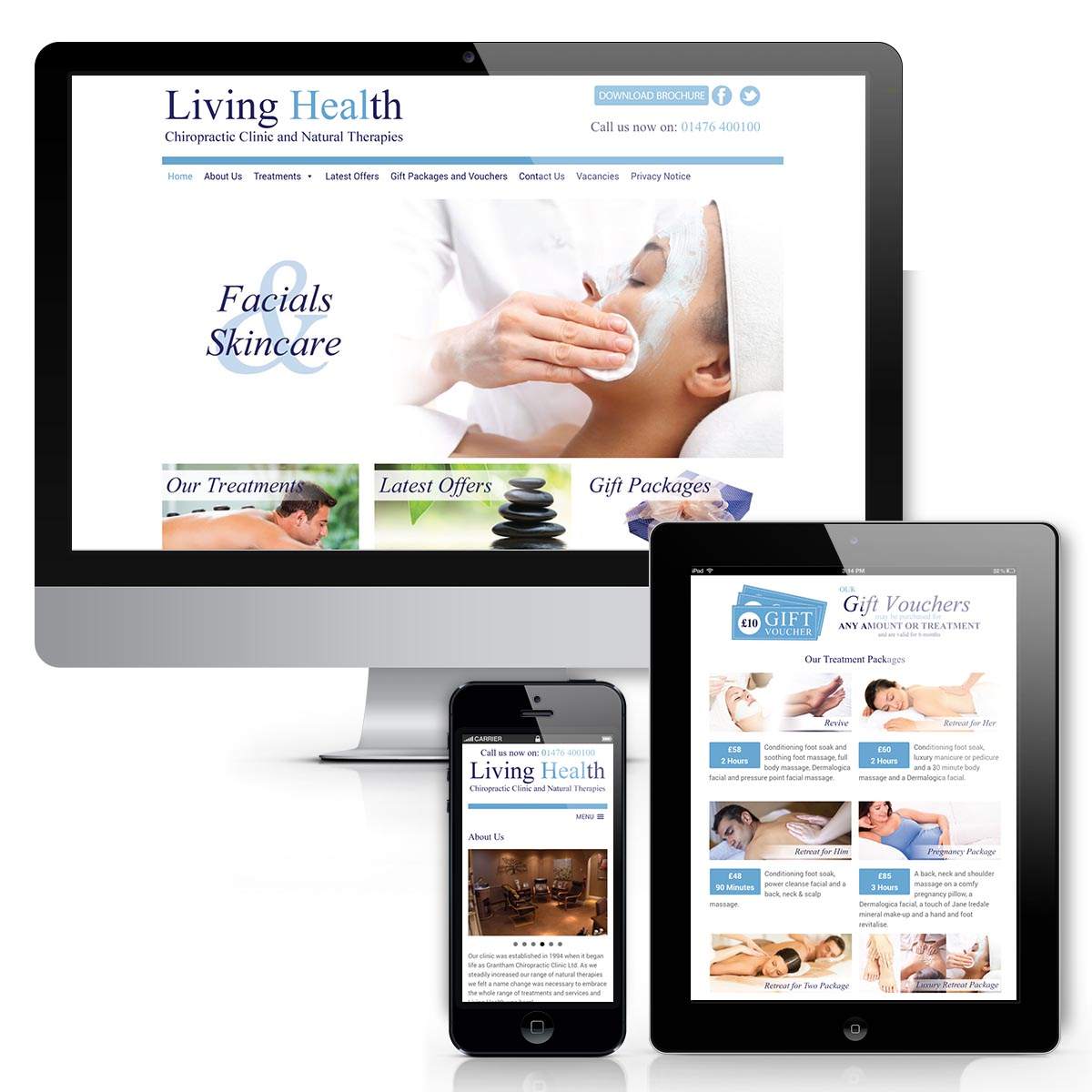 Web design for Living Health in Grantham
