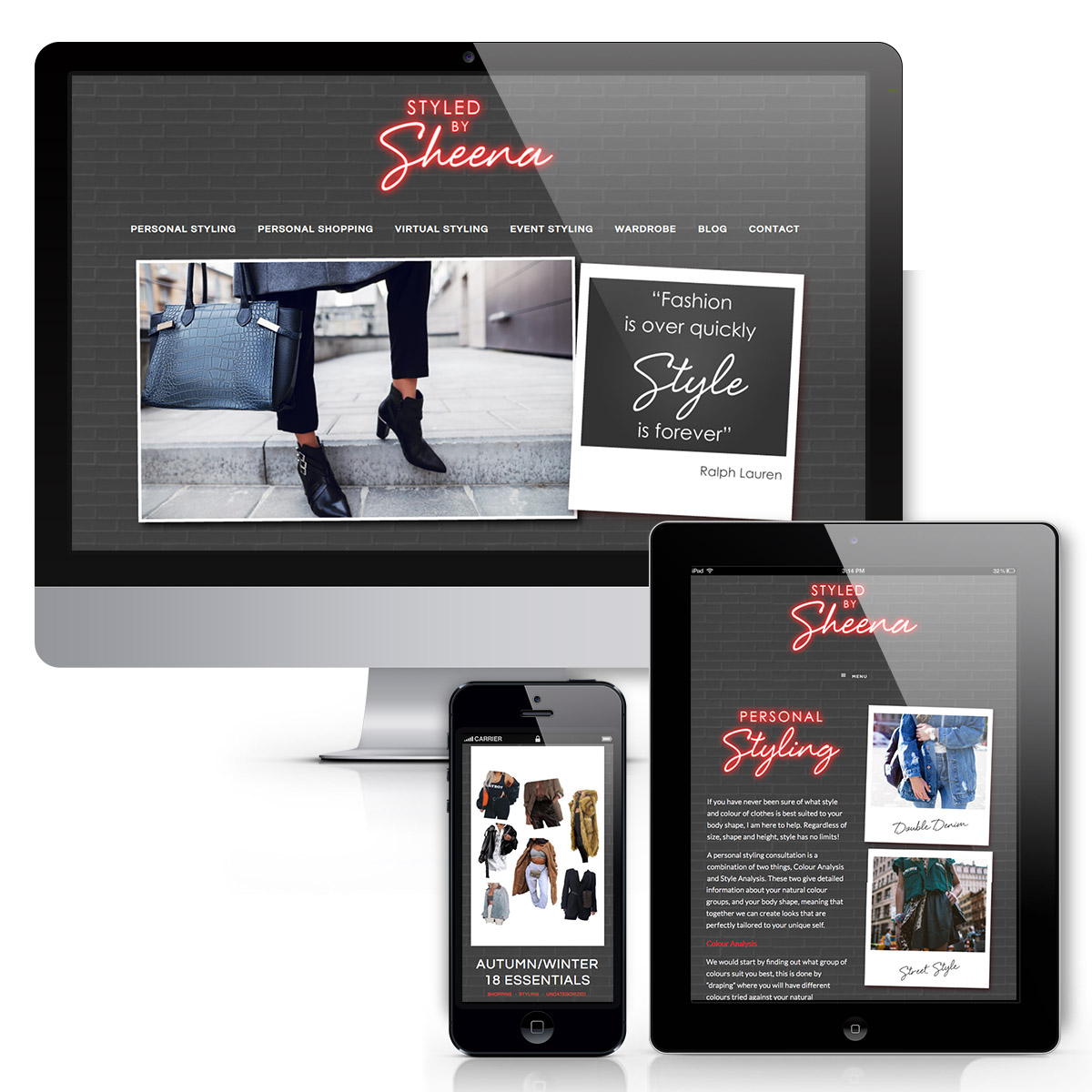 Styled by Sheena Website design with red neon logo