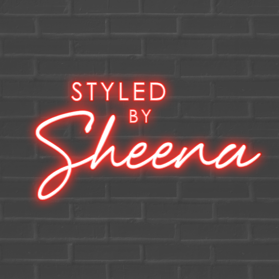Styled by Sheena Logo design with Red neon on dark brick
