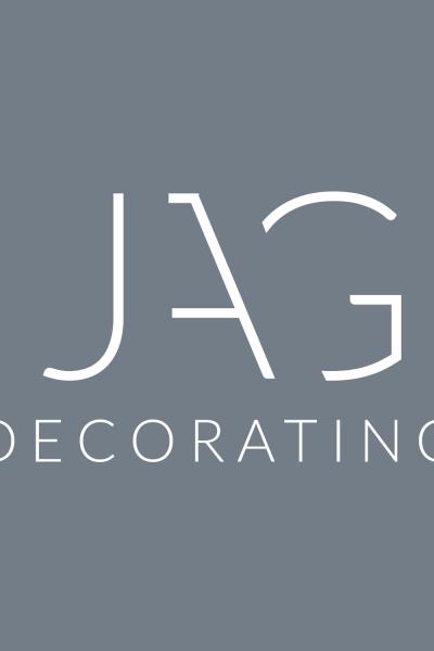 Blue grey modern typographic logo design for JAG Decorating Grantham