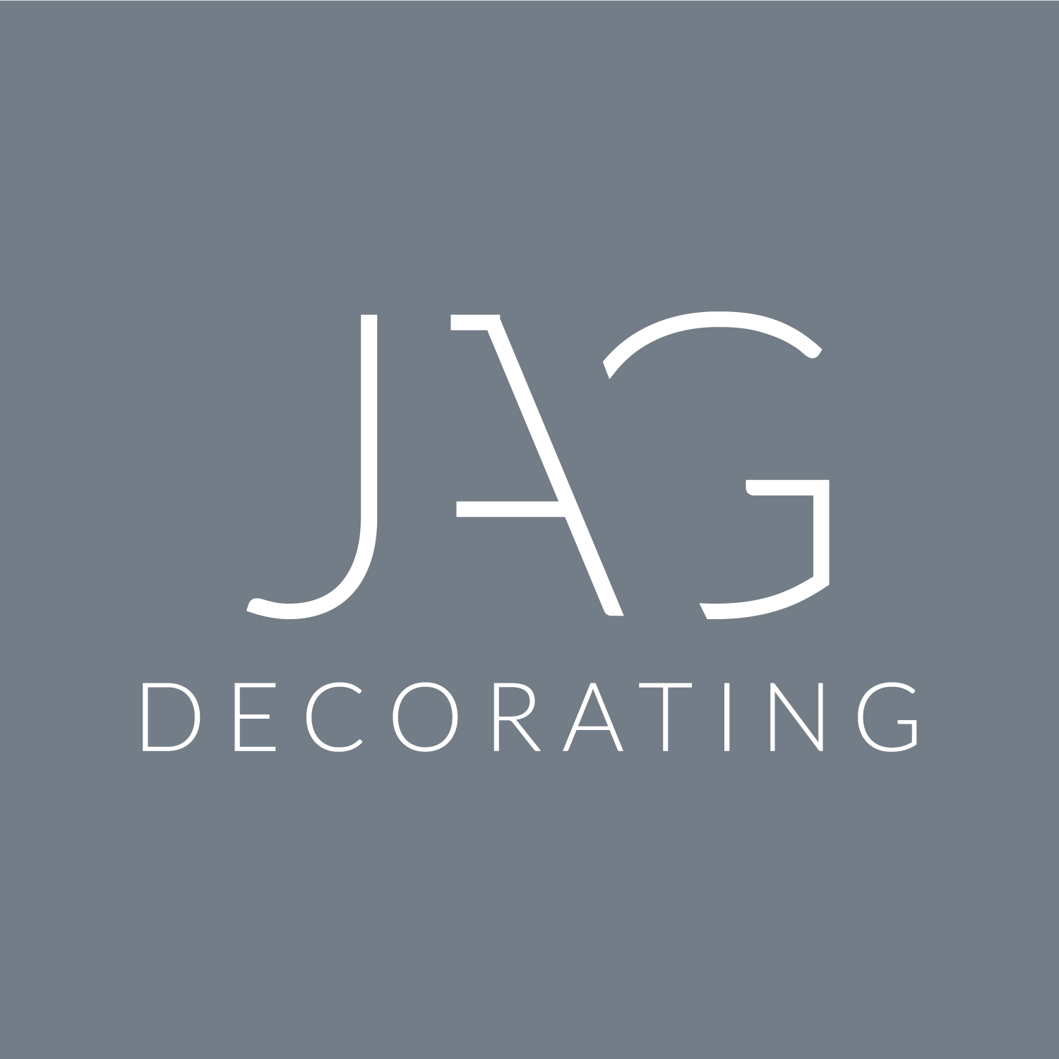 Blue grey modern typographic logo design for JAG Decorating Grantham