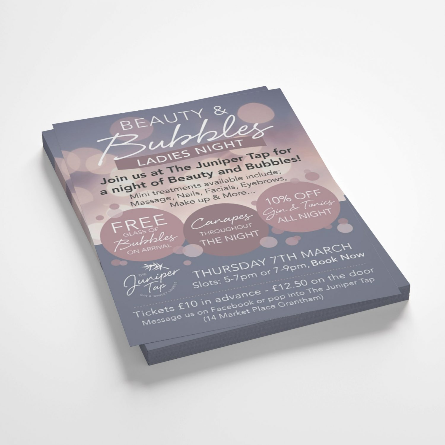 Leaflets for Beauty and bubbles night