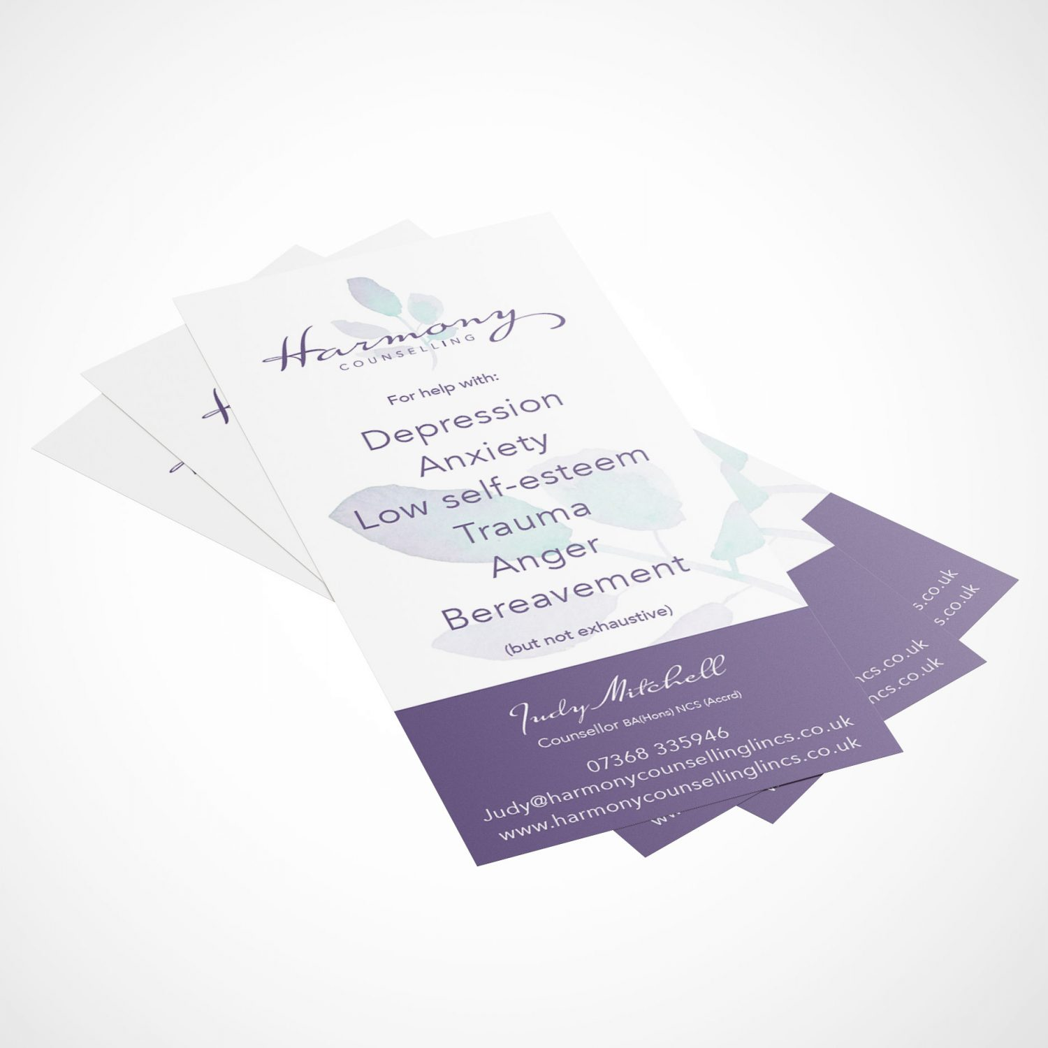 Harmony Counselling Lincs Leaflet design and print